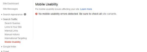 Prueba de usabilidad móvil en Google WebMasters