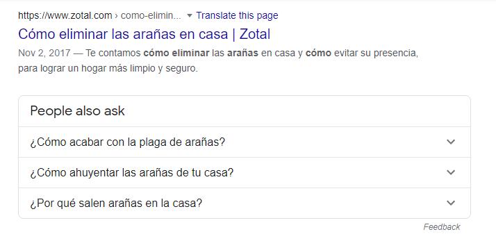 Ejemplo de búsquedas en Google, con relación de otras búsquedas.